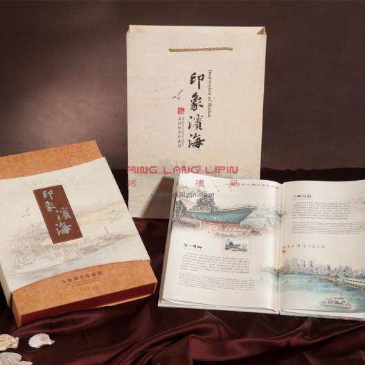 天津特色礼品新品 滨海印象 真丝丝绸邮票册