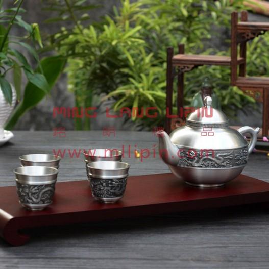 瑞气东升茶具套装 纯锡茶具 超品质套装