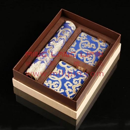 富贵宝花三件套 丝绸鼠标垫+丝绸杯垫  中国特色礼品 政府外事礼品 高档商务礼品