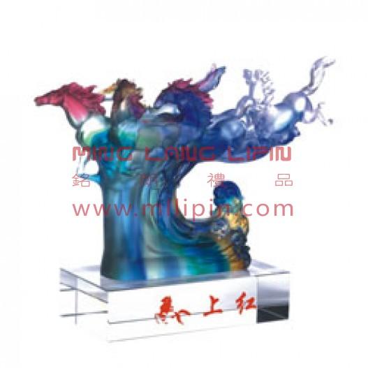 马上红玻璃摆件高档商务礼品会议纪念周年庆典礼品送客户送外宾礼品