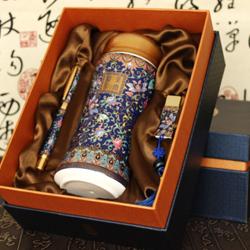 中国风景泰蓝彩—会议三件套 双层陶瓷保温杯*1+陶瓷U盘(8G)*1+珐琅彩签字笔