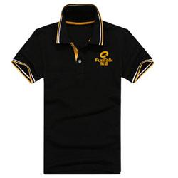 乐语翻领短袖广告衫 定做全棉黑色工作服polo衫