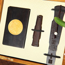 古典琴式红木书签、U盘、名片夹创意礼品三件套 文化商务三件套