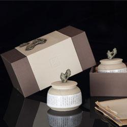 雅石绿色  瓷罐茶叶包装高档雅石陶瓷茶叶罐两罐通用茶叶包装盒 创意精选