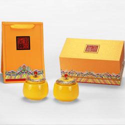 御品至尊两瓷罐黄瓷、红瓷茶叶罐 高档茶叶礼盒