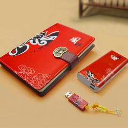 中国风 红色脸谱丝绸笔记本三件套 天津礼品公司 商务拜访礼品会议礼品定制LOGO