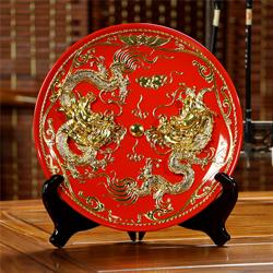 中国红漆线雕金箔艺术精品龙凤呈祥挂盘纪念品可加刻LOGO