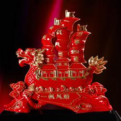 红釉陶瓷漆线雕 镶金龙船 乔迁开业礼品