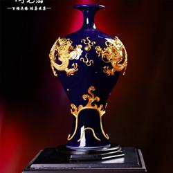 乔迁礼品小摆件漆线雕蓝色美人陶瓷花瓷高档商务礼品 送老外