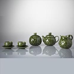 乾唐轩活瓷天鹅耀州绿釉茶具组 一壶六杯六盘 高档商务礼品