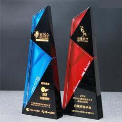 高档黑色水晶奖杯 公司周年庆典礼品 公司年会奖品