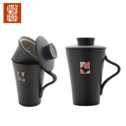 台湾陆宝禅风福寿盖杯办公泡茶活水养生陶瓷杯 高档商务礼品送客户送老外中国风礼品公司