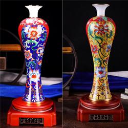 鸿福齐天景泰蓝花瓶收藏工艺生日礼品送老外送领导老长辈礼品公司