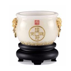 招财聚宝盆琉璃工艺品摆件周年庆典开业礼品定制LOGO