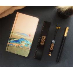 千里江山-笔记本四件套 (本+书签+笔座+签字笔)中国风外事礼品定做LOGO